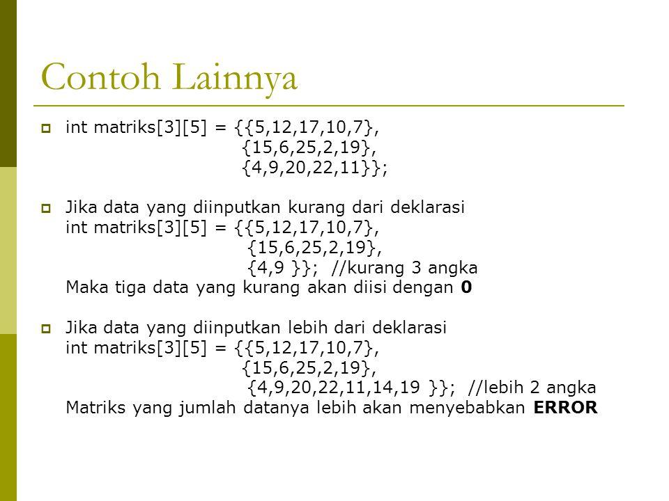 Contoh Lainnya int matriks[3][5] = {{5,12,17,10,7}, {15,6,25,2,19},